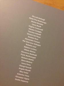 I nomi degli artisti in mostra